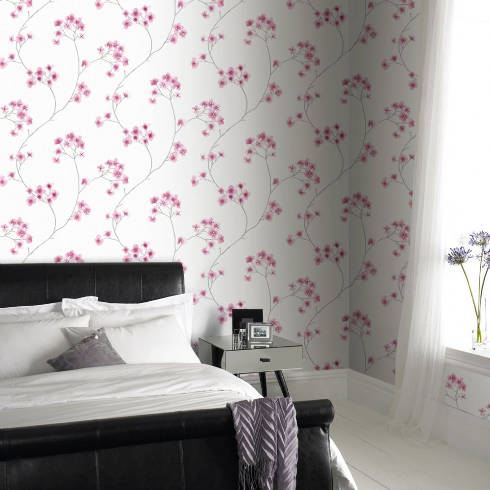Graham and Brown Radiance Pink/White 33-286 Wallpaper